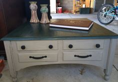Coffee Table painted in French Linen & Aubusson Blue  by Annie Sloan, distressed with light and dark wax