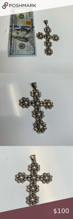 LARGE TIBETAN SILVER ORNATE CROSS PENDANT NECKLACE CHOICE OF NECKLACE STYLE