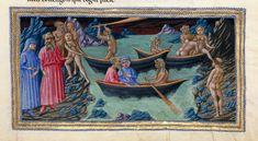 Dante being rowed by Charon across the River Acheron, from the closing lines of Canto III in the Inferno . Illuminations for Dante's Divine Comedy Dante Alighieri, Medieval Manuscript, Illuminated Manuscript, Dantes Inferno, Religion Catolica, Medieval World, British Library, 14th Century, Illustrations