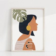 Woman Face One Line Abstract Painting Burnt Orange Terracotta Wall Art Canvas Print Mid Century Boho Picture Living Room Decor - 50x70 cm No Frame / PB1647
