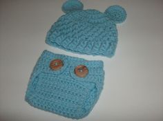Crochet Baby Teddy Bear Hat and Diaper Cover Set  Made to Order via Etsy