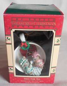 1988 enesco two for tea mouse tea cup christmas ornament nib 559776 - Christmas Mouse Decorations