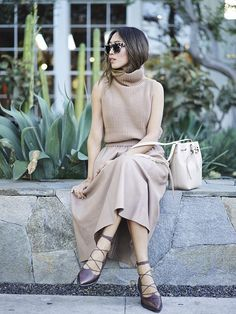 Aimee Song of Style Camel Vince Sleeveless Turtleneck Sweater Leather Skirt