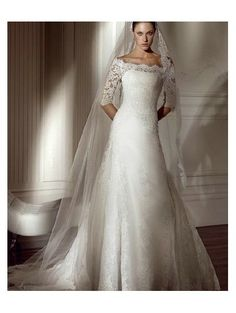 projectbridal.com A-Line Chapel Train Tip of the Shoulder Dropped Waist Long Satin 3/4 Length Sleeves Ivory Modest Wedding Dresses