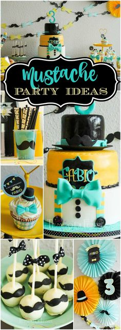 Check out this mustache little man party in a great color combo! See more party ideas at CatchMyParty.com!