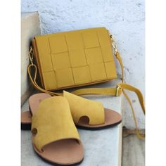 Mustard yellow woven leather crossbody bag and adjustable leather strap