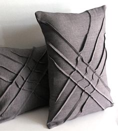 X-PLEAT LINEN ACCENT PILLOW. Made from hand-dyed linen with a freeform textured design. Other colors available. Really nice.