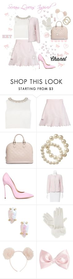 """♡ Miss Pretty In Pastels: Scream Queens Inspired ♡"" by kaylalovesowls ❤ liked on Polyvore featuring Ted Baker, See by Chloé, Louis Vuitton, Old Navy, Casadei, Chanel, Kendra Scott, Isotoner, Hot Topic and Forever 21"