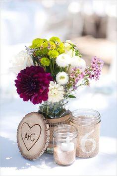 burlap wrapped mason jars wedding centerpiece
