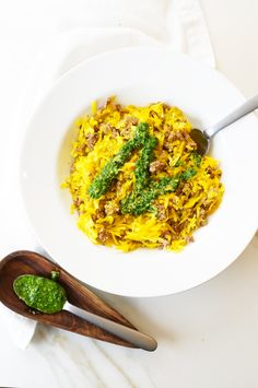 Butternut Rice with Beef & Nut-Free Basil Pesto-- omit beef for a side dish or top with seafood or fried eggs
