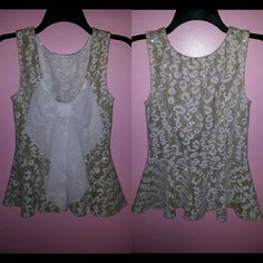 NEW Gold White Chiffon Bow Peplum Top Blouse Shirt This listing is for a peplum tank top in gold & ivory/cream/off-white leopard cheetah print, size medium! Bow can be worn in front or back!  New condition, never been worn, but may have been sitting in my closet for some time! (Recovering shopaholic- I used to buy so many clothes in multiples, forgot all about them, and left them unworn! Starting fresh by selling my closet!)  All items have been steamed cleaned prior to listing & stored…