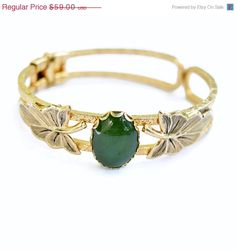 Clearance Sale Vintage Faux Jade Clamper Bracelet Engraved Band Beautiful 1970's