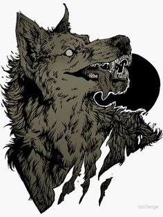'Werewolf - black' Sticker by tatiilange Fantasy Wolf, Dark Fantasy Art, Dark Art, Animal Drawings, Art Drawings, Werewolf Art, Arte Obscura, Creature Concept Art, Anime Wolf