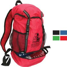 Experience the great outdoors with everything you need on your back when you have this trail loop drawstring backpack. Consisting of 210D polyester, this bag offers adjustable shoulder straps, a zippered bottom storage compartment, covered top access with a drawstring, mesh water bottle side pockets and a front pocket for additional storage. Add your company name and logo to create a memorable tradeshow gift.