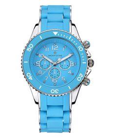 Look at this #zulilyfind! Blue & Silver Amber Silicone Bracelet Watch #zulilyfinds