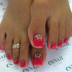 Red Toes Nail Polish with Toe Ring