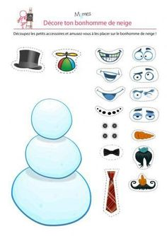 free printable snowman with facial features and hair options to cut out and decorate him with Christmas Games, Christmas Activities, Kids Christmas, Preschool Activities, Christmas Crafts, Christmas Decorations, Diy For Kids, Crafts For Kids, Cute Elephant Tattoo