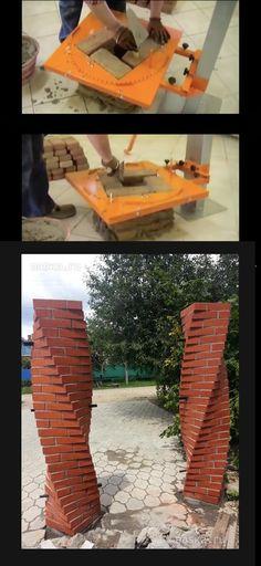 "Twisted brick pillars ""how to"" – Exterior Brick Design, Roof Design, House Design, Brick Architecture, Architecture Details, Building Facade, Building Design, Brick Columns, Brick Masonry"