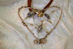 Herzanhänger - Kette Herz Anhänger silber gold braun Borte   - ein Designerstück von trixies-zauberhafte-Welten bei DaWanda