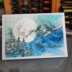 """@susannehenriksson60 shared a photo on Instagram: """"Winterscape. I love the little birds on the branch. #timholtz #stampersanonymous #rangerink #christmascards #handgjordakort2021"""" • Sep 27, 2021 at 2:30pm UTC Christmas Cards, Mary Christmas, Stampers Anonymous, Ranger Ink, Little Birds, Tim Holtz, Instagram, Artwork, Christmas E Cards"""