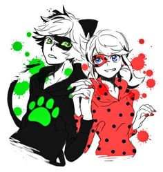 (Miraculous: Tales of Ladybug and Chat Noir) Adrien Agreste/Cat Noir and Ladybug/Marinette Dupain-Cheng