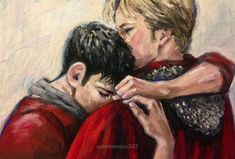 """artgroves: """" """"It's all right, Merlin,"""" he said softly."""" for x """" This soft pastel painting inches high, 13 inches wide on paper) will be auctioned at Fandom Loves Puerto Rico The auction will go live at EST, Tuesday. Merlin Serie, Merlin Show, Merlin Fandom, Merlin Cast, Fanart, Demian Wayne, Merlin And Arthur, King Arthur, Merlin Colin Morgan"""