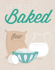 Kitchen Print Lets get baked blue  11x14 Poster wall by noodlehug, $27.00