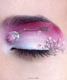 flower art on eyes