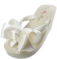 Bridal Flip Flops - Antique Lace Wedge Wedding Flip Flops, Ivory or White, Bows for the Bride and Bridesmaids