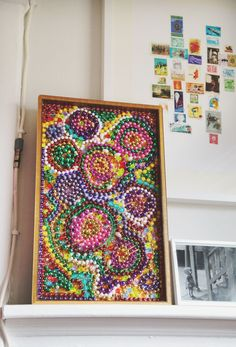 Mardis Gras bead mosaic. Could do this with other beads too....hmmm....