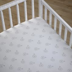 CoCaLo Crib Fitted Sheet - Bicycle - Gray/White