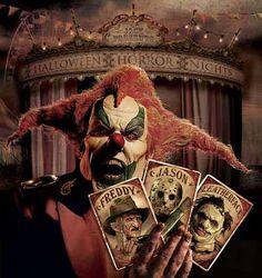 Jack the Clown from Halloween Horror Nights at Universal Studios Haunted Carnival, Creepy Carnival, Creepy Clown, Scary Scary, Joker Clown, Scary Stuff, Horror Icons, Horror Art, Horror Movies