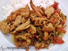 Érdekel a receptje? Kattints a képre! Küldte: Kautz Jozsef Wok, Low Carb Recipes, Chili, Shrimp, Dinner Recipes, Menu, Curry, Chicken, Red Peppers
