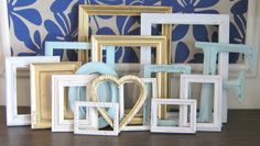 of July Sale Mint, Antique Gold, and Cream Picture Frame Set/ Gallery Wall Set/ Letter Monogram/ Distressed Semi Gloss Matte Cream Picture Frames, Picture Frame Sets, Picture Wall, Gallery Wall Frame Set, Gold Couch, Gloss Matte, Yellow Bathrooms, Monogram Letters, Home Decor Items
