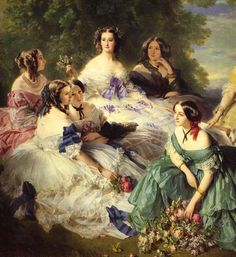 "the-garden-of-delights: ""Empress Eugenie Surrounded by her Ladies in Waiting"" (1855) (detail) by Franz Xavier Winterhalter (1805-1873)."