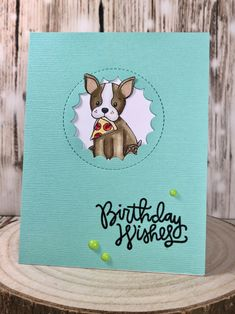 Birthday Wishes with stamps from Simon Says Stamp www.sharon-curtis.com  #simonsaysstamp #mft #cardmaking #stamping #bostonterrier #copicmarkers