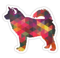 Alaskan Malamute Dog Colorful Geometric Pattern Silhouette Sticker ❤  Find more Breed Collection here…. ❤ BreedCollection.com ❤ TriPodDog.Etsy.com ❤ TriPodDogDesign.RedBubble.com ❤ http://www.zazzle.com/breed_collection