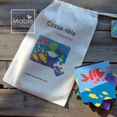 Casse-tête en bois aimanté Balade en famille, jouet en bois, cadeau pour enfant, fait au Québec, Canada, Mabie Ecodesign de la boutique MabieEcodesign sur Etsy