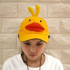 9a005e56e6e Funny 3D yellow duck baseball cap for girls animal sun caps Girl Baseball  Cap