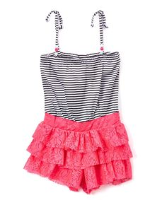 Neon Hot Pink Stripe Ruffle-Lace Romper - Infant Toddler & Girls