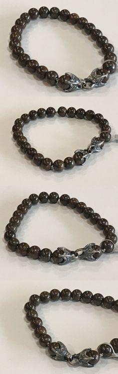 Bracelets 137835: David Yurman Mens Silver 8Mm Bronzite Spiritual Bead Bracelet Nwt $450 8.5 BUY IT NOW ONLY: $337.25