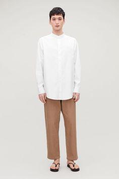 DECONSTRUCTED GRANDAD SHIRT Wardrobe Sale, Small Wardrobe, Grandad Shirts, Collar Designs, Deconstruction, White Shirts, White Fashion, Cos, Daily Fashion