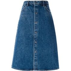 Bibico New Fairtrade Denim Midi Button Front Skirt (€66) ❤ liked ...