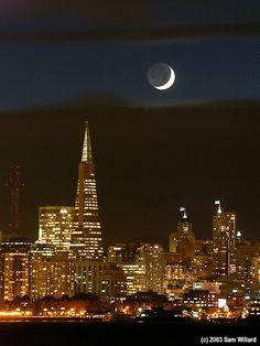 Crescent Moon Over San Francisco II - San Francisco, California