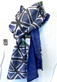 Mens Silk Scarf Handpainted Mens Gift Blue Silk Scarf Gray