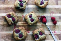 raspberry + mint muffins