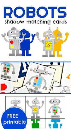 Match the robot to it's shadow! These printable robots shadow matching cards are a great way to practice visual discrimination with your little ones.