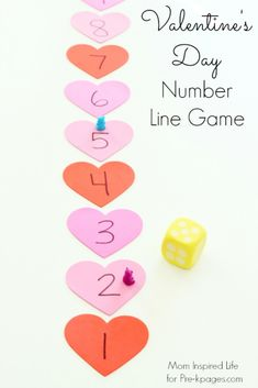 Valentine Counting Game For Preschool - Pre-K Pages Valentines Day Heart Number Line Game for Preschool My Funny Valentine, Valentines Games, Valentine Theme, Valentines Day Activities, Valentines Gifts For Boyfriend, Valentines Day Hearts, Valentines For Kids, Valentine Day Crafts, Valentine Nails