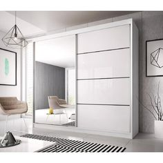 Modern Wardrobe: How to integrate the storage space miracle! Modern Wardrobe image is loading PEVXUKS Sliding Door Wardrobe Designs, Wardrobe Design Bedroom, Mirrored Wardrobe Doors, Wardrobe With Mirror, Closet Mirror, White Wardrobe, Modern Wardrobe, Wardrobe Ideas, Modern Sliding Doors