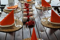 Table decorated with candles and rowen berries, orange autumn. Warm And Cozy, Berries, Table Settings, Candles, Autumn, Table Decorations, Orange, Home Decor, Decoration Home